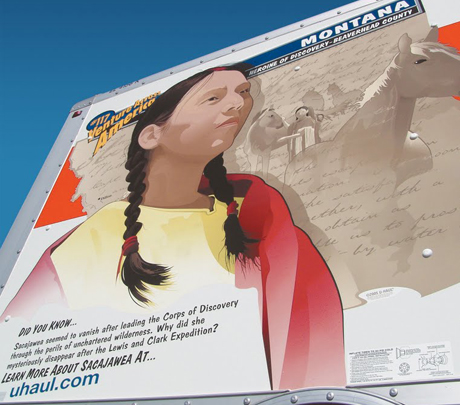 Sacawajea adorns the side of many U-Haul Trucks in support of women traveling alone